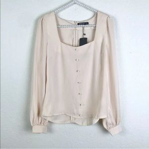 [Nasty Gal] NWT Ivory Square Neck Blouse